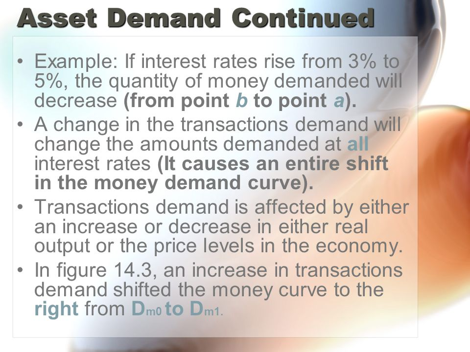 Asset Demand Continued Example: If interest rates rise from 3% to 5%, the quantity of money demanded will decrease (from point b to point a).