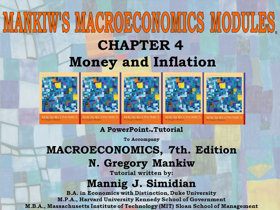 Chapter Four22 % Change in M + % Change in V = % Change in P + % Change in Y % Change in M + % Change in V = + % Change in Y i = r + The quantity theory and the Fisher equation together tell us how money growth affects the nominal interest rate.