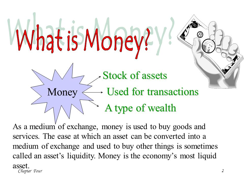 Chapter Four13 Lets now express the quantity of money in terms of the quantity of goods and services it can buy.