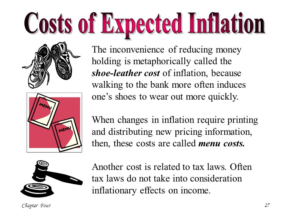 Chapter Four27 The inconvenience of reducing money holding is metaphorically called the shoe-leather cost of inflation, because walking to the bank mo