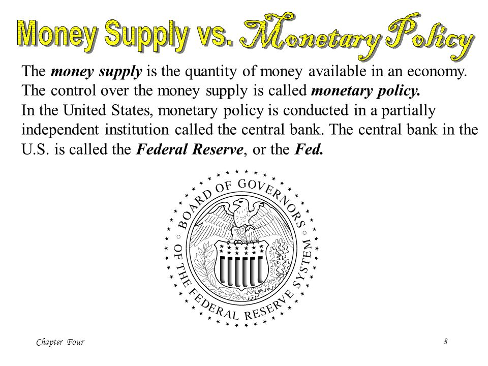 Chapter Four8 The money supply is the quantity of money available in an economy. The control over the money supply is called monetary policy. In the U