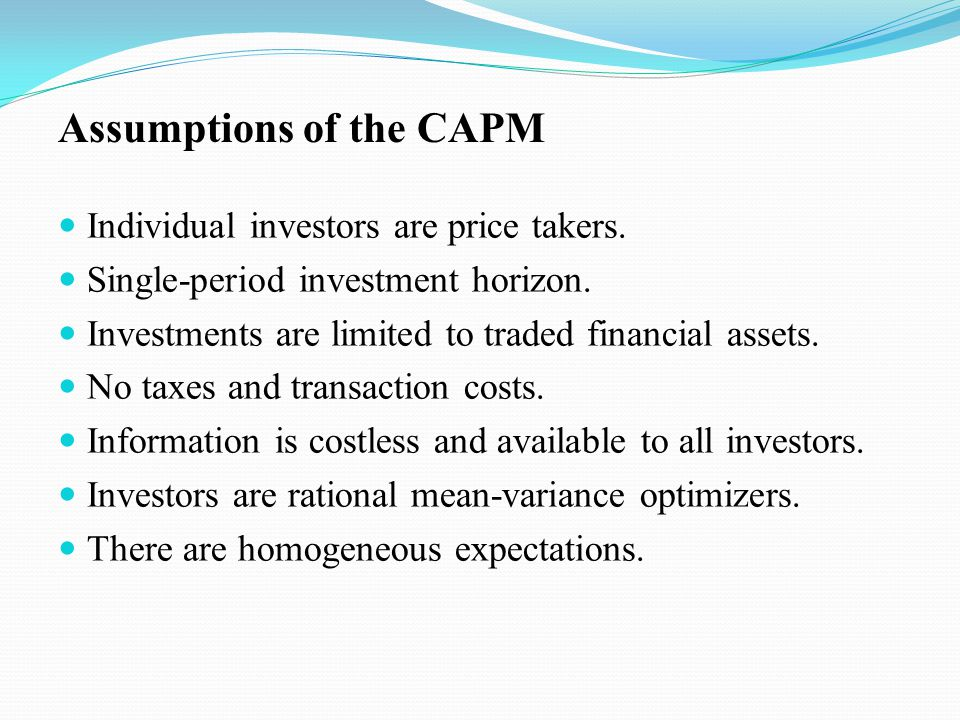 Individual investors are price takers. Single-period investment horizon. Investments are limited to traded financial assets. No taxes and transaction