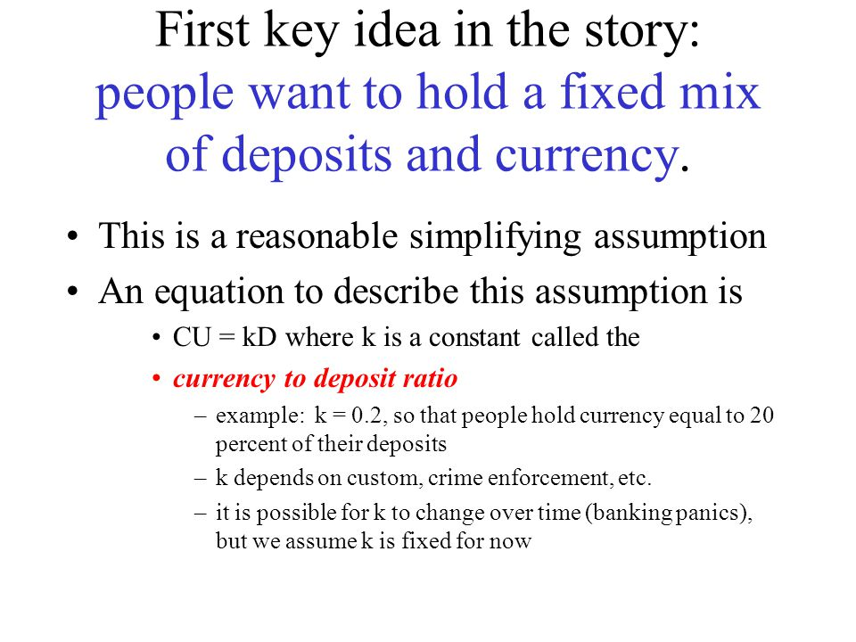 First key idea in the story: people want to hold a fixed mix of deposits and currency.