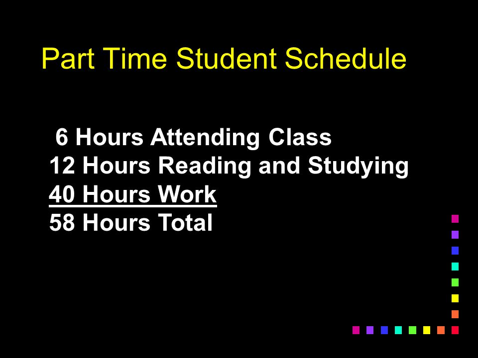 The Impossible Schedule 12 Hours Attending Class 24 Hours Reading and Studying 40 Hours Work 76 Hours Total This is like having two full time jobs!
