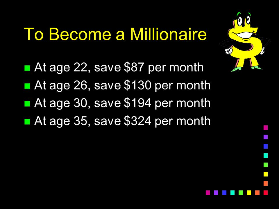 Challenge Question: To become a millionaire by age 68, how much would you need to save each month if you started saving at age 22.