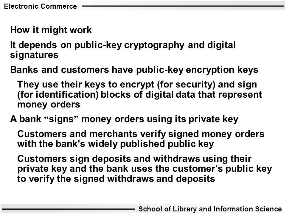 Electronic Commerce School of Library and Information Science How it might work It depends on public-key cryptography and digital signatures Banks and