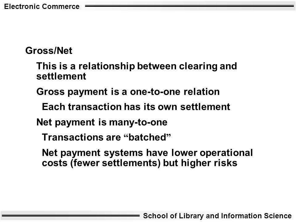 Electronic Commerce School of Library and Information Science Gross/Net This is a relationship between clearing and settlement Gross payment is a one-