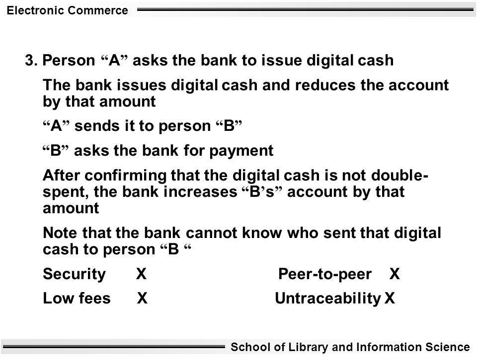 Electronic Commerce School of Library and Information Science 3. Person A asks the bank to issue digital cash The bank issues digital cash and reduces