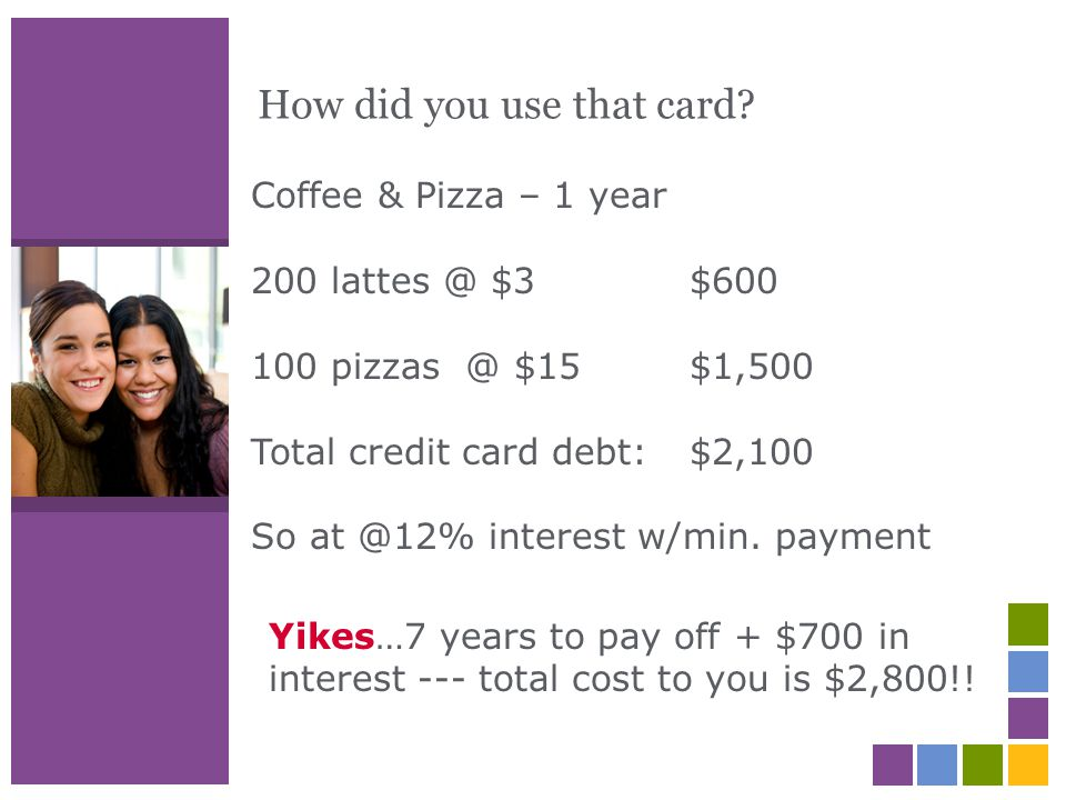 How did you use that card? Coffee & Pizza – 1 year 200 lattes @ $3 $600 100 pizzas @ $15 $1,500 Total credit card debt: $2,100 So at @12% interest w/m