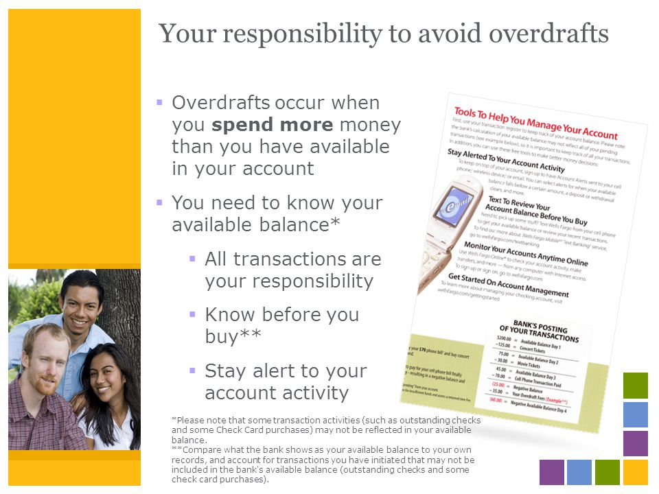 Your responsibility to avoid overdrafts Overdrafts occur when you spend more money than you have available in your account You need to know your avail