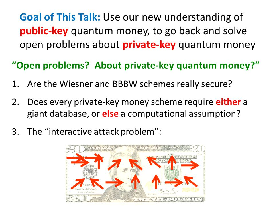 Goal of This Talk: Use our new understanding of public-key quantum money, to go back and solve open problems about private-key quantum money Open prob