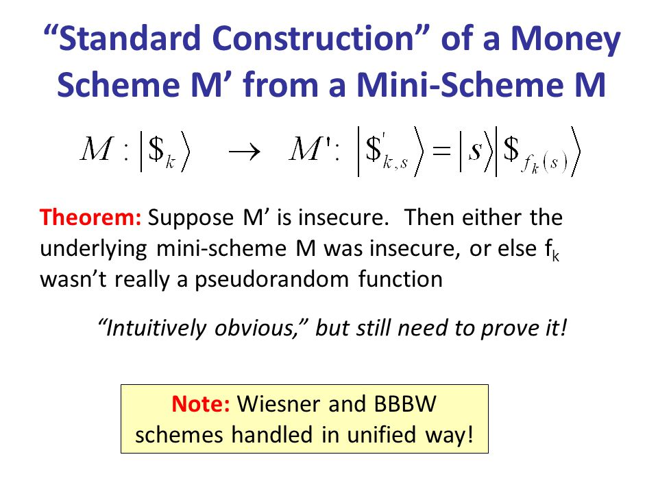 Theorem: Suppose M is insecure. Then either the underlying mini-scheme M was insecure, or else f k wasnt really a pseudorandom function Standard Const