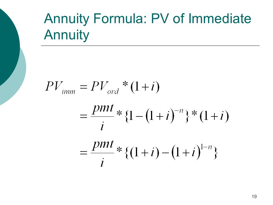 19 Annuity Formula: PV of Immediate Annuity