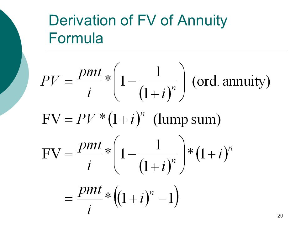 20 Derivation of FV of Annuity Formula