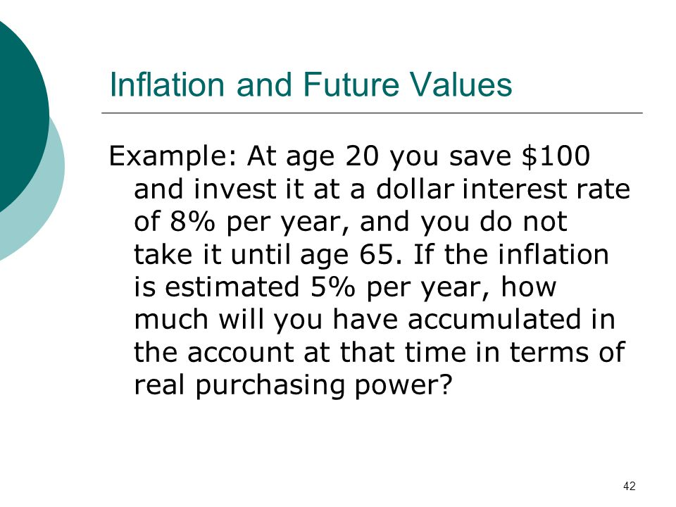 42 Inflation and Future Values Example: At age 20 you save $100 and invest it at a dollar interest rate of 8% per year, and you do not take it until a