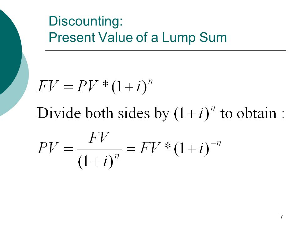 7 Discounting: Present Value of a Lump Sum