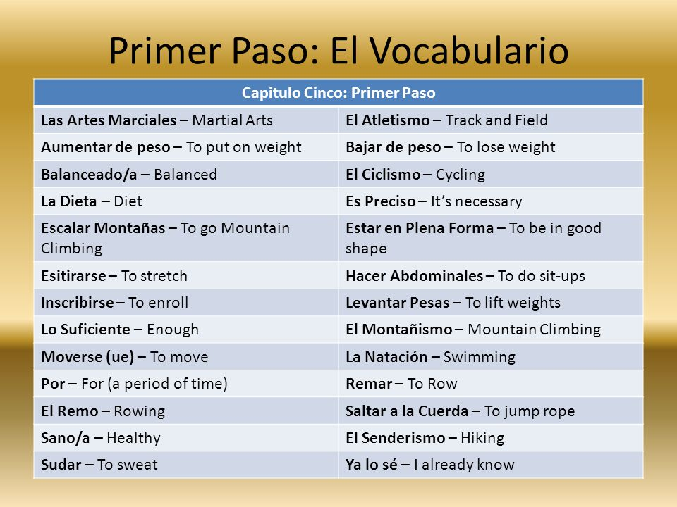 Primer Paso: El Vocabulario Capitulo Cinco: Primer Paso Las Artes Marciales – Martial ArtsEl Atletismo – Track and Field Aumentar de peso – To put on weightBajar de peso – To lose weight Balanceado/a – BalancedEl Ciclismo – Cycling La Dieta – DietEs Preciso – Its necessary Escalar Montañas – To go Mountain Climbing Estar en Plena Forma – To be in good shape Esitirarse – To stretchHacer Abdominales – To do sit-ups Inscribirse – To enrollLevantar Pesas – To lift weights Lo Suficiente – EnoughEl Montañismo – Mountain Climbing Moverse (ue) – To moveLa Natación – Swimming Por – For (a period of time)Remar – To Row El Remo – RowingSaltar a la Cuerda – To jump rope Sano/a – HealthyEl Senderismo – Hiking Sudar – To sweatYa lo sé – I already know