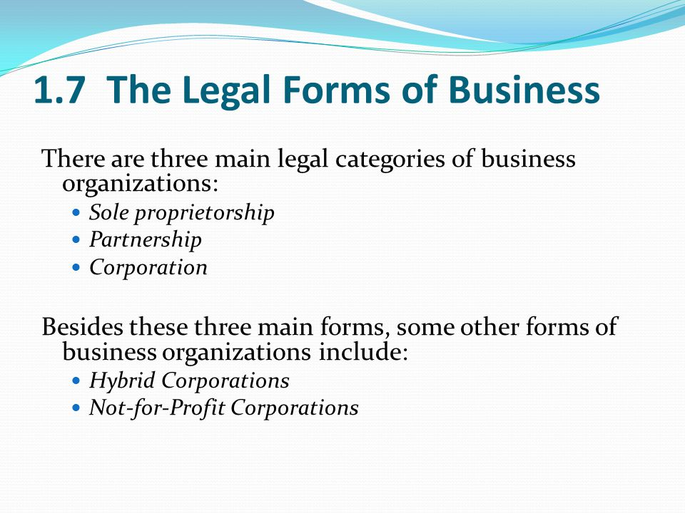1.7 The Legal Forms of Business There are three main legal categories of business organizations: Sole proprietorship Partnership Corporation Besides these three main forms, some other forms of business organizations include: Hybrid Corporations Not-for-Profit Corporations