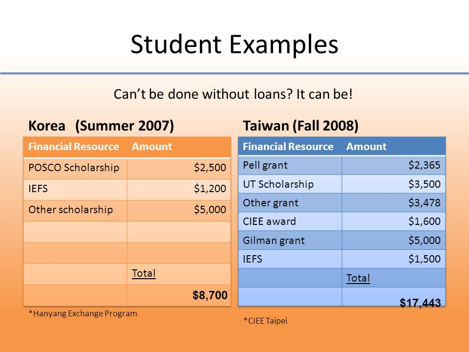 Student Examples Korea(Summer 2007)Taiwan (Fall 2008) Cant be done without loans.