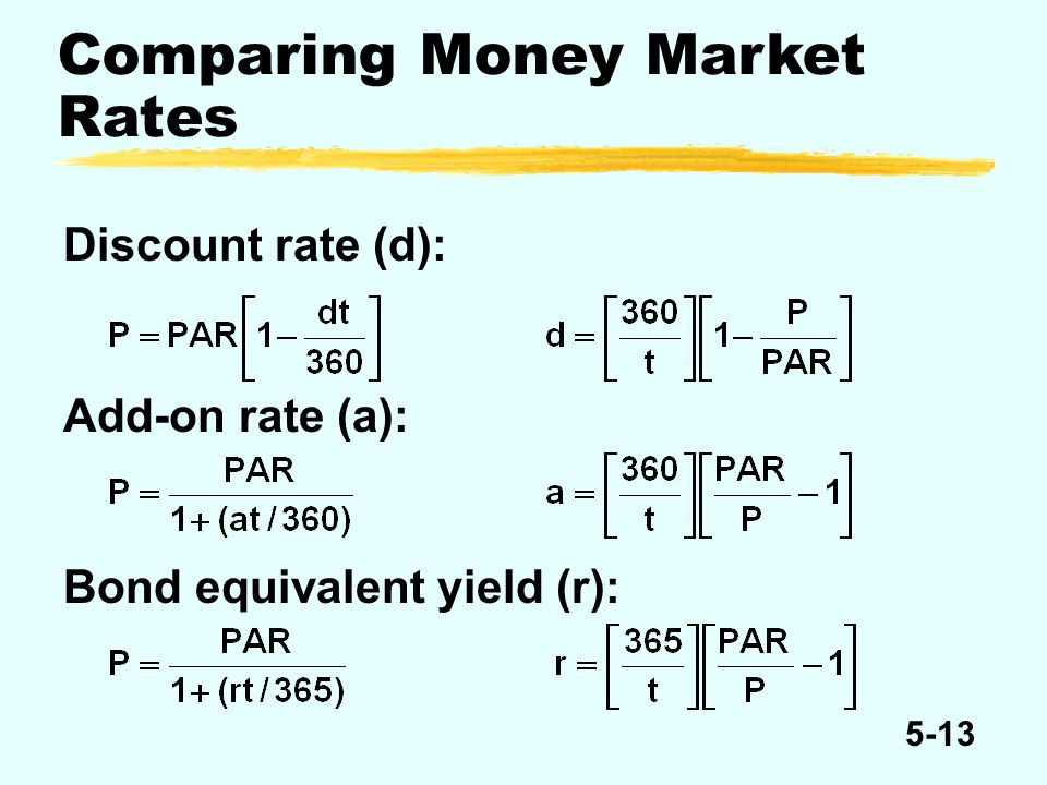 5-13 Comparing Money Market Rates Discount rate (d): Add-on rate (a): Bond equivalent yield (r):