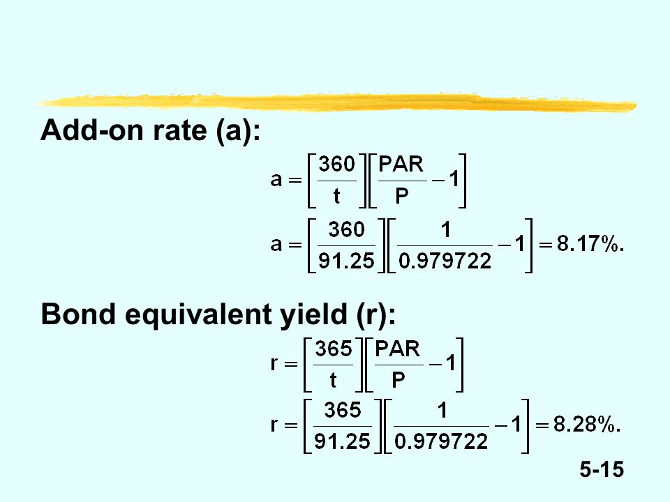 5-15 Add-on rate (a): Bond equivalent yield (r):