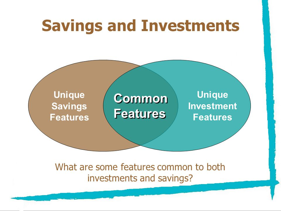 NEFE High School Financial Planning Program Unit Three – Investing: Making Money Work for You Savings and Investments Unique Savings Features Unique Investment Features Common Features Common Features What are some features common to both investments and savings