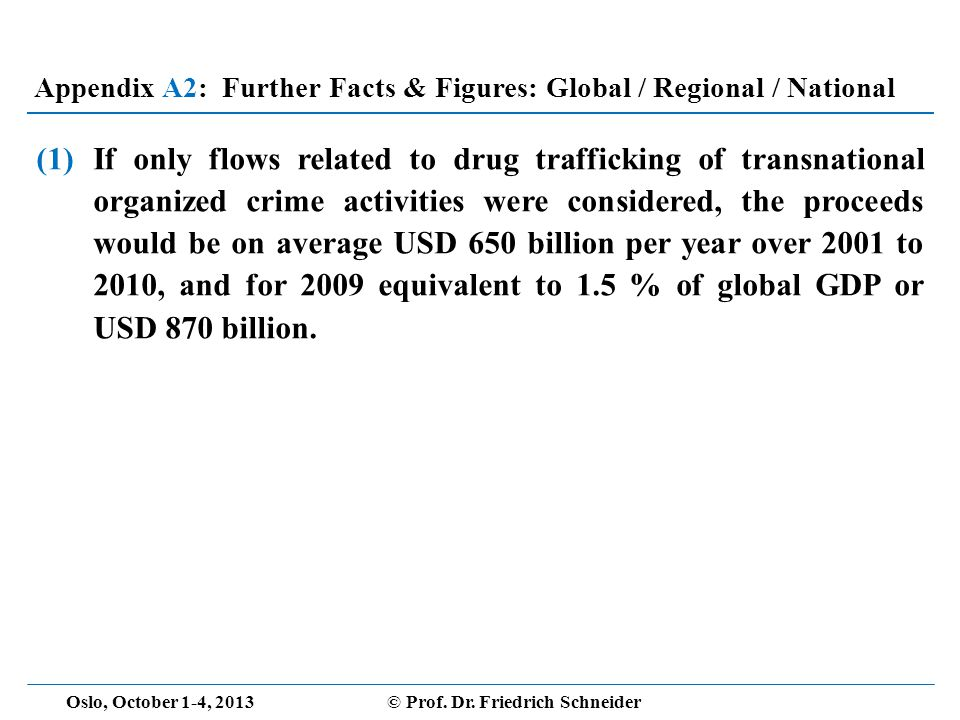 (1)If only flows related to drug trafficking of transnational organized crime activities were considered, the proceeds would be on average USD 650 billion per year over 2001 to 2010, and for 2009 equivalent to 1.5 % of global GDP or USD 870 billion.