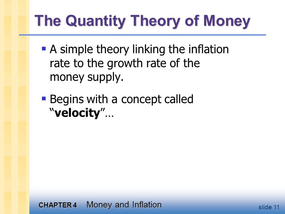 CHAPTER 4 Money and Inflation slide 11 The Quantity Theory of Money A simple theory linking the inflation rate to the growth rate of the money supply.