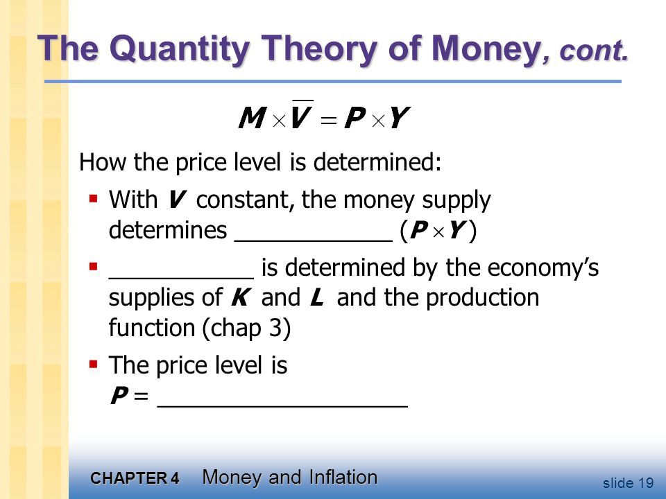 CHAPTER 4 Money and Inflation slide 19 The Quantity Theory of Money, cont. How the price level is determined: With V constant, the money supply determ