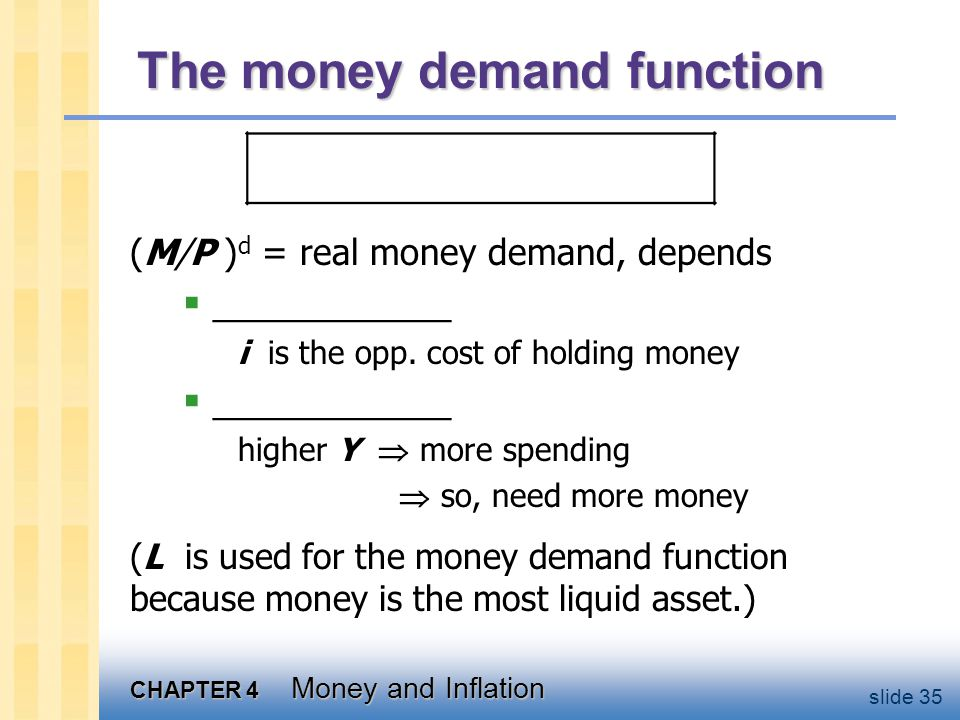 CHAPTER 4 Money and Inflation slide 35 The money demand function (M/P ) d = real money demand, depends ____________ i is the opp. cost of holding mone