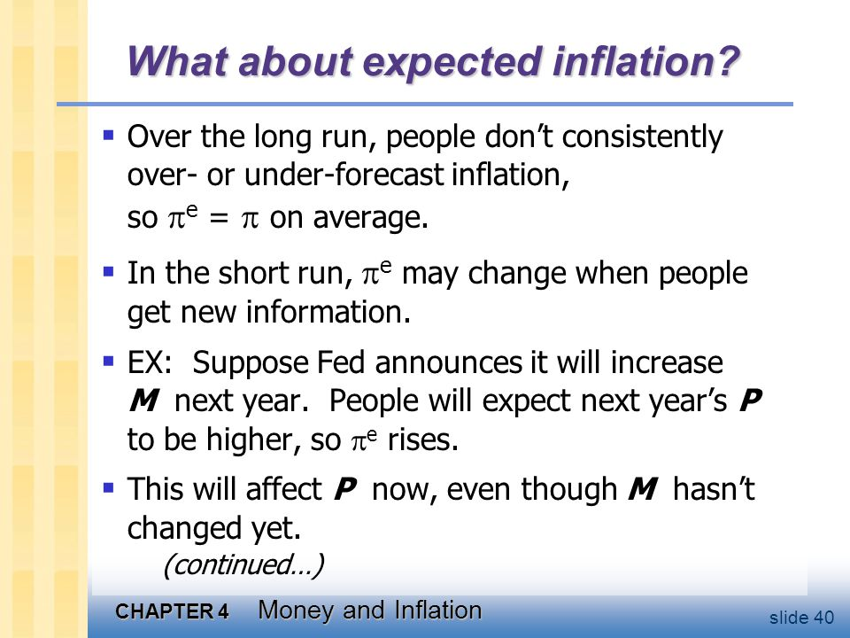 CHAPTER 4 Money and Inflation slide 40 What about expected inflation? Over the long run, people dont consistently over- or under-forecast inflation, s