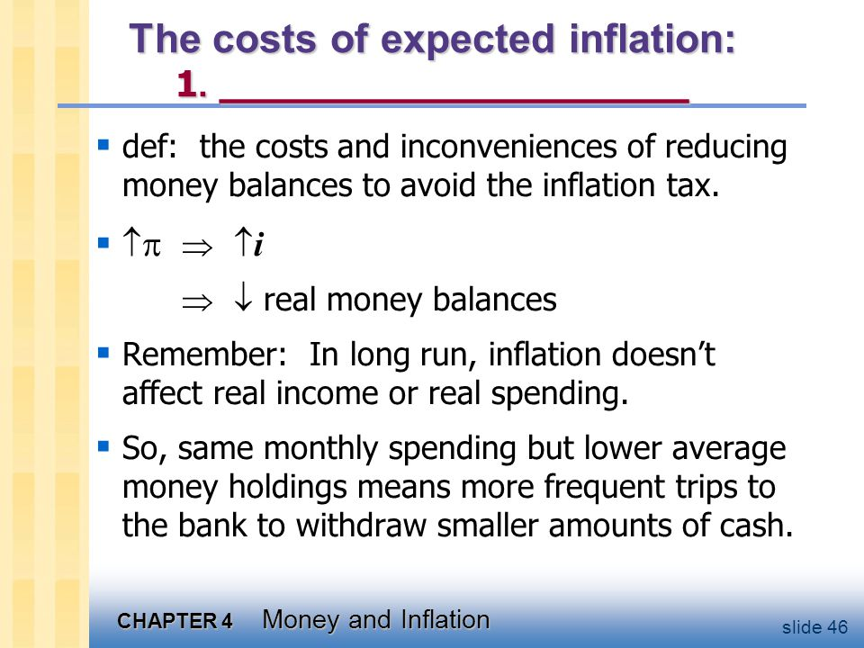 CHAPTER 4 Money and Inflation slide 46 The costs of expected inflation: 1. __________________ def: the costs and inconveniences of reducing money bala