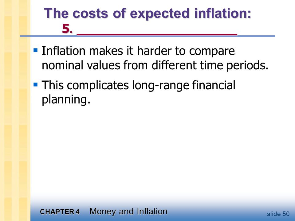 CHAPTER 4 Money and Inflation slide 50 The costs of expected inflation: 5. __________________ Inflation makes it harder to compare nominal values from