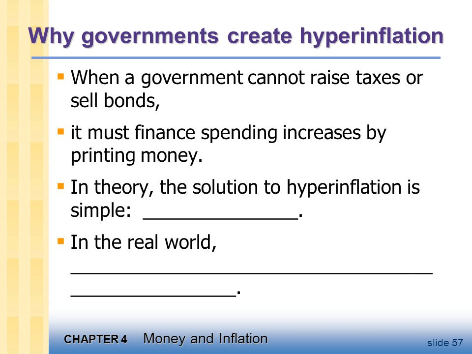 CHAPTER 4 Money and Inflation slide 57 Why governments create hyperinflation When a government cannot raise taxes or sell bonds, it must finance spend