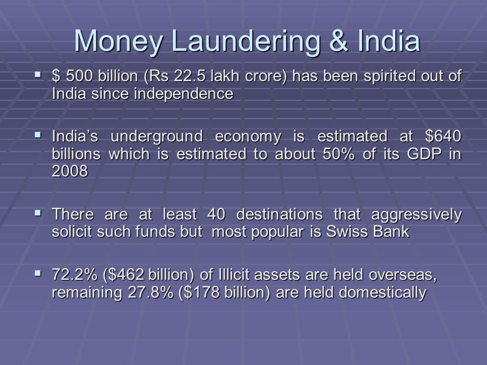 Money Laundering & India $ 500 billion (Rs 22.5 lakh crore) has been spirited out of India since independence $ 500 billion (Rs 22.5 lakh crore) has b