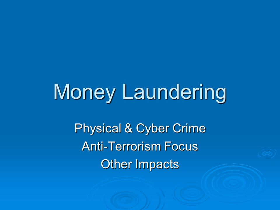 Money Laundering Physical & Cyber Crime Anti-Terrorism Focus Other Impacts
