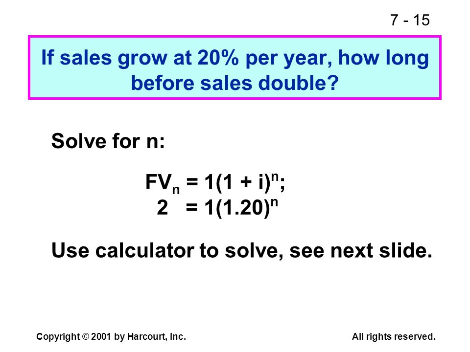 7 - 15 Copyright © 2001 by Harcourt, Inc.All rights reserved. If sales grow at 20% per year, how long before sales double? Solve for n: FV n = 1(1 + i