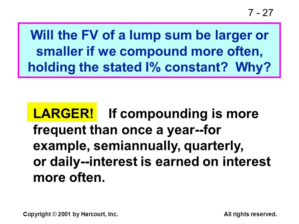 7 - 27 Copyright © 2001 by Harcourt, Inc.All rights reserved. Will the FV of a lump sum be larger or smaller if we compound more often, holding the st
