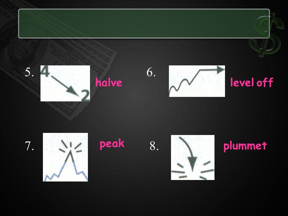 5. 6. 7. 8. halvelevel off peak plummet