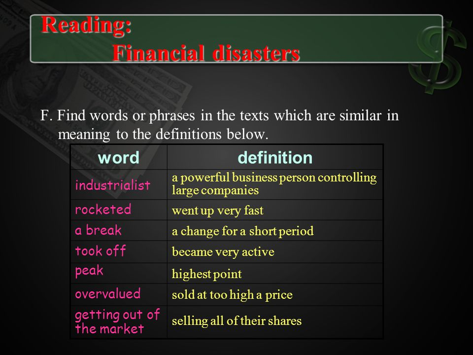 F. Find words or phrases in the texts which are similar in meaning to the definitions below. worddefinition industrialist a powerful business person c