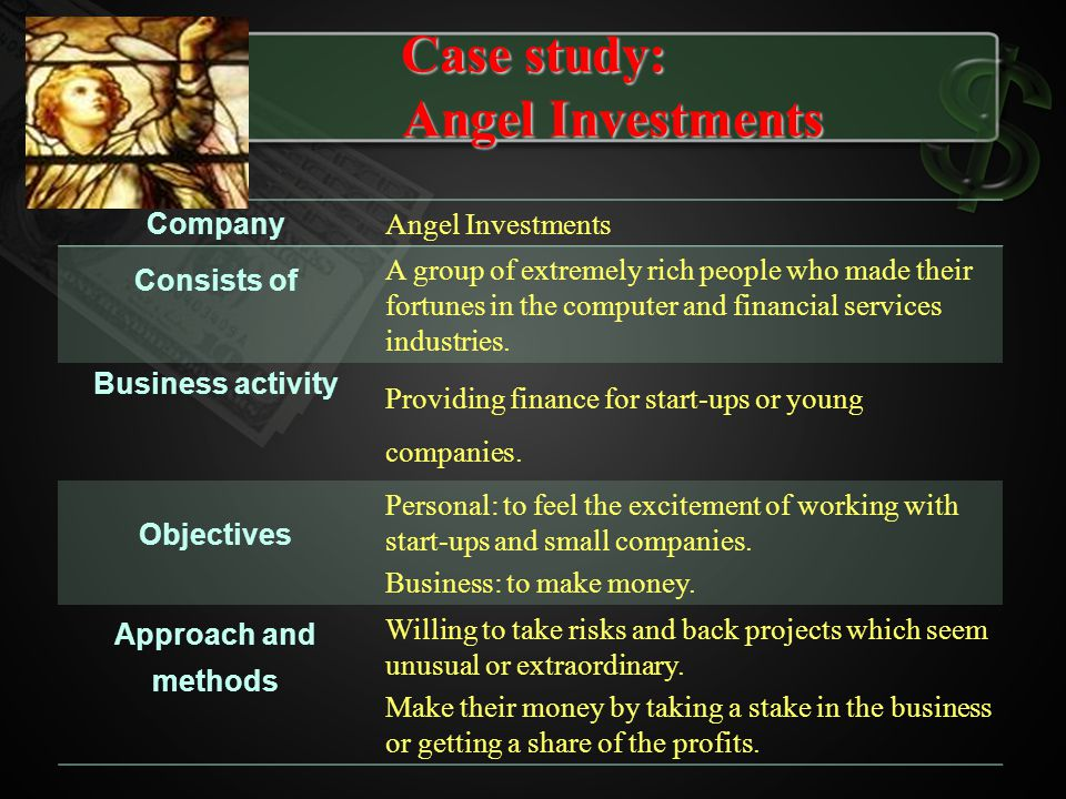 Company Angel Investments Consists of A group of extremely rich people who made their fortunes in the computer and financial services industries. Busi