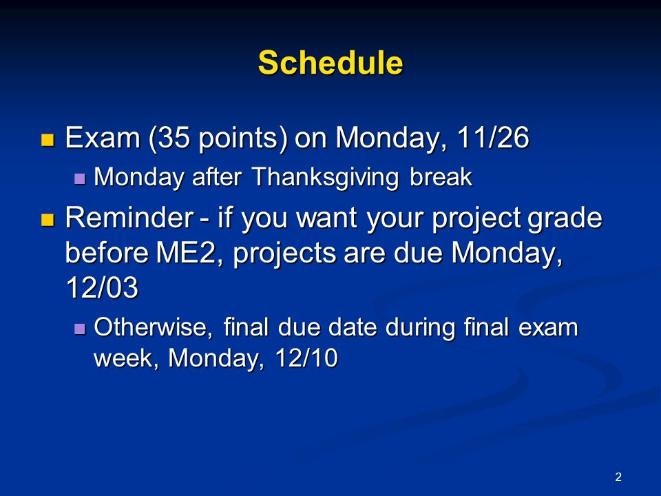 2 Schedule Exam (35 points) on Monday, 11/26 Exam (35 points) on Monday, 11/26 Monday after Thanksgiving break Monday after Thanksgiving break Reminde