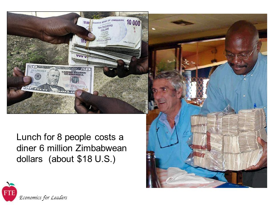Economics for Leaders Lunch for 8 people costs a diner 6 million Zimbabwean dollars (about $18 U.S.)