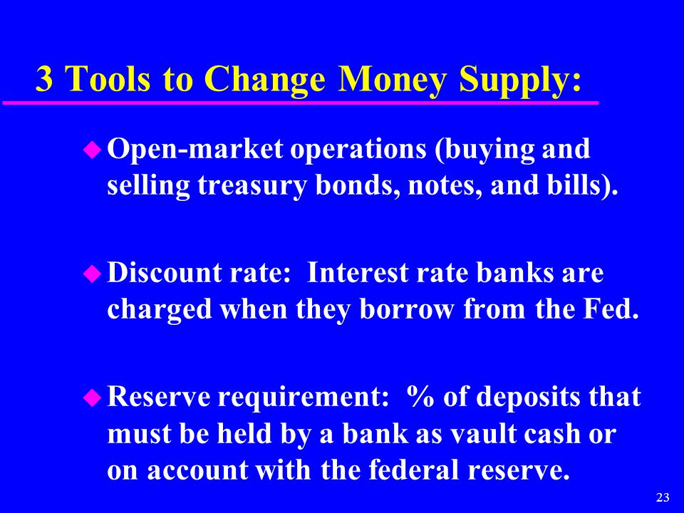23 3 Tools to Change Money Supply: u Open-market operations (buying and selling treasury bonds, notes, and bills).
