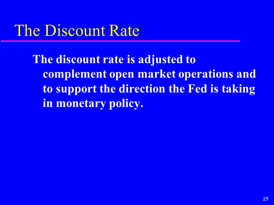 25 The Discount Rate The discount rate is adjusted to complement open market operations and to support the direction the Fed is taking in monetary policy.
