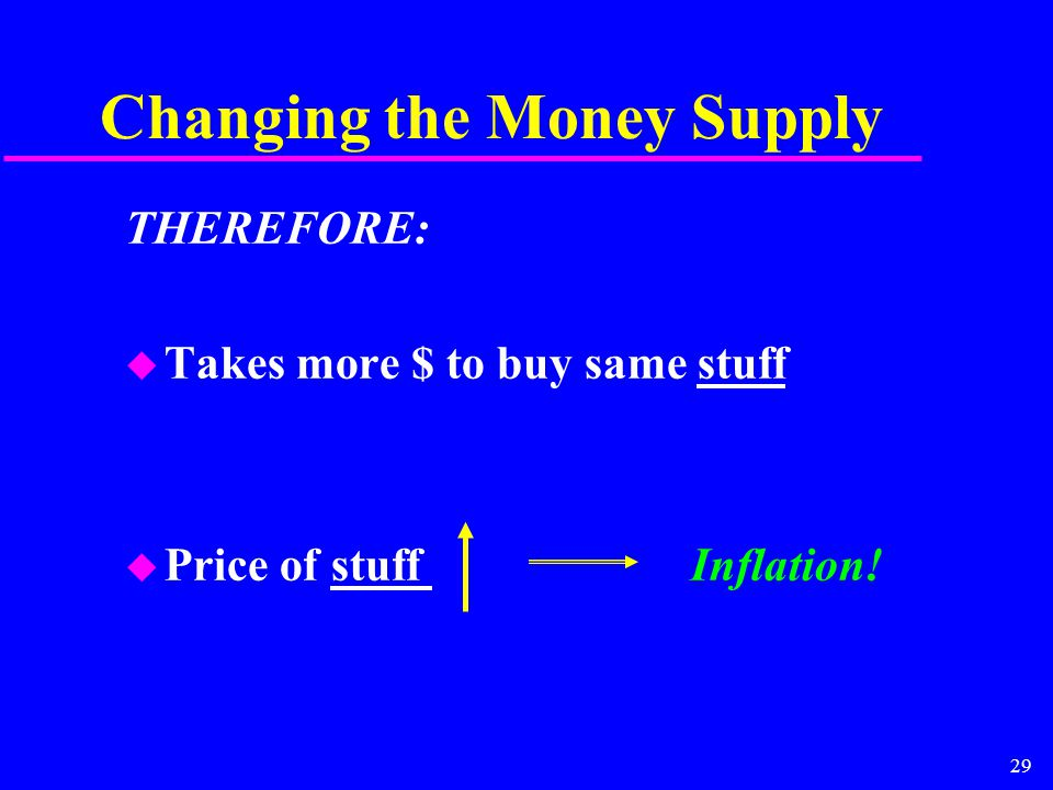 29 Changing the Money Supply THEREFORE: u Takes more $ to buy same stuff u Price of stuff Inflation!