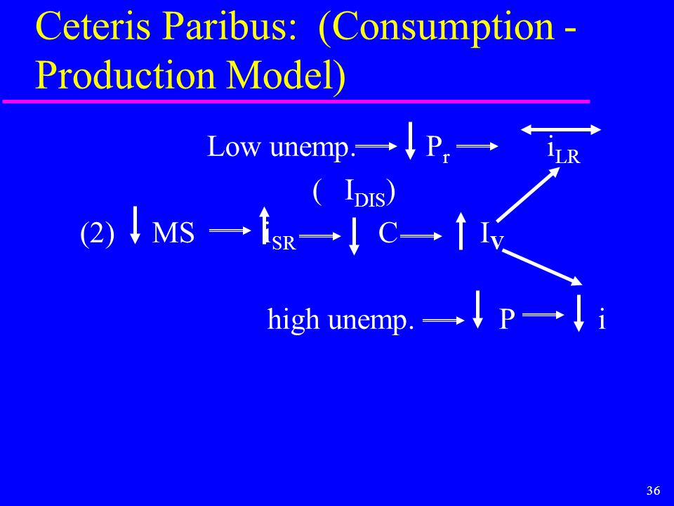 36 Ceteris Paribus: (Consumption - Production Model) Low unemp. P r i LR ( I DIS ) (2) MS i SR C I V high unemp. P i
