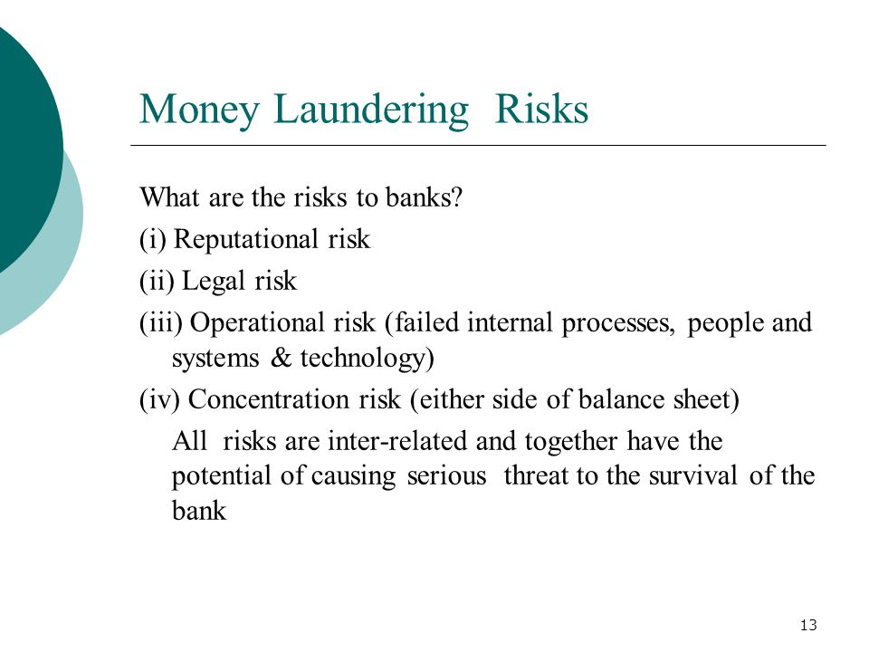 13 Money Laundering Risks What are the risks to banks? (i) Reputational risk (ii) Legal risk (iii) Operational risk (failed internal processes, people
