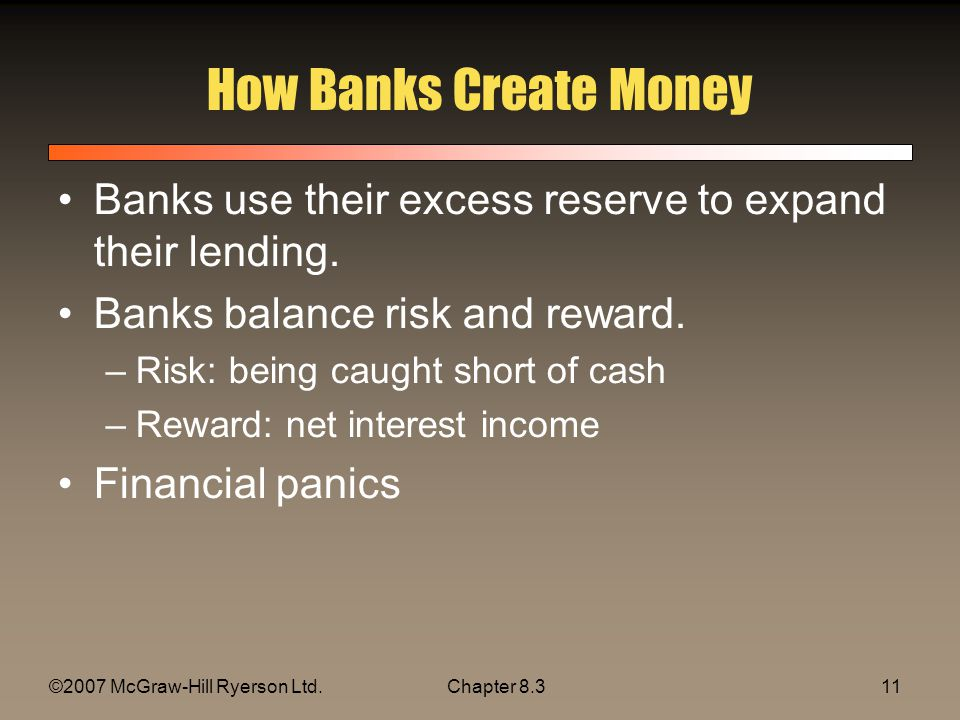 ©2007 McGraw-Hill Ryerson Ltd.Chapter How Banks Create Money Banks use their excess reserve to expand their lending.