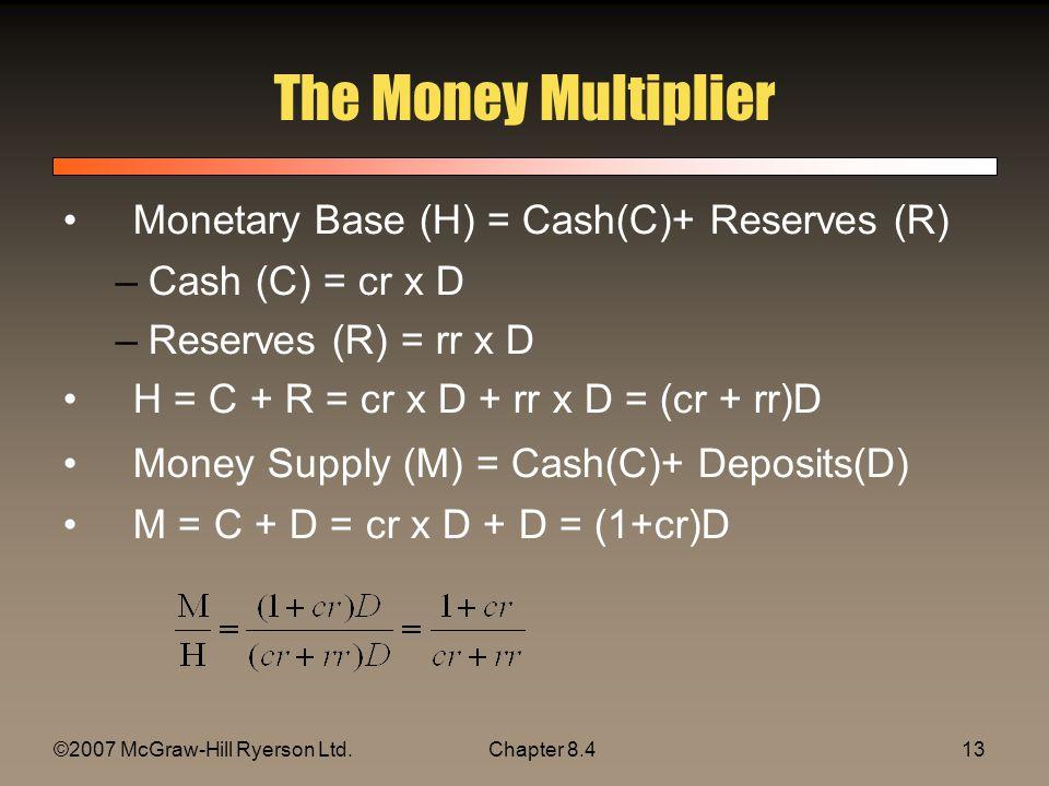 ©2007 McGraw-Hill Ryerson Ltd.Chapter 8.413 The Money Multiplier Monetary Base (H) = Cash(C)+ Reserves (R) –Cash (C) = cr x D –Reserves (R) = rr x D H